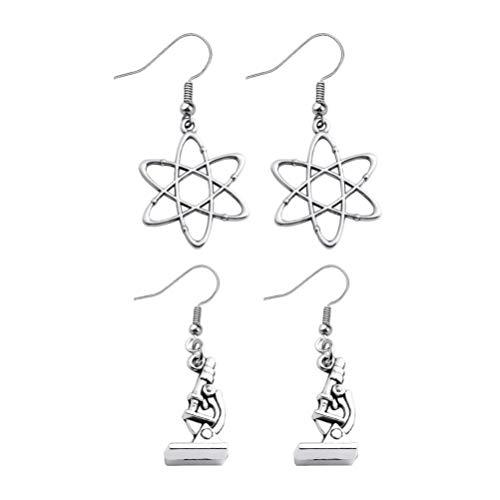 Amosfun 2 Paare Labor Mikroskop Baumeln Ohrringe Molekül Anhänger Ohrringe Perfektes Geschenk für Doktor Krankenschwester Medizinstudenten