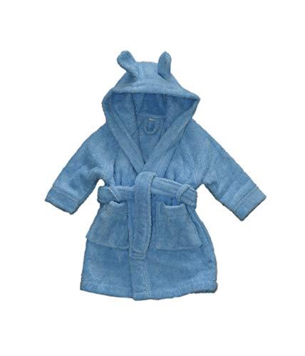 Leela Cotton Peignoir de bain en coton bio avec capuche pour bébé (86/92, bleu)