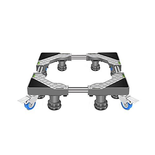 Base móvil Ajustable con 4 Ruedas de Bloqueo Ruedas universales para electrodomésticos Carro secador de Acero Inoxidable 45-65cm Soporte para Lavadora Pedestal Base para refrigerador Carro móvil