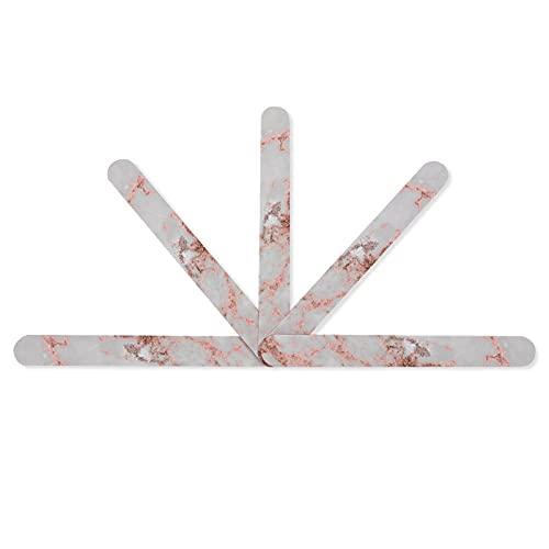 Lot de 5 limes à ongles élégantes en marbre blanc et or rose avec impression pailletée professionnelle double face grain 100/180 pour manucure et pédicure