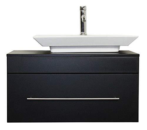 emotion Badmöbel Pegasus schwarz seidenglanz mit Aufsatzwaschbecken