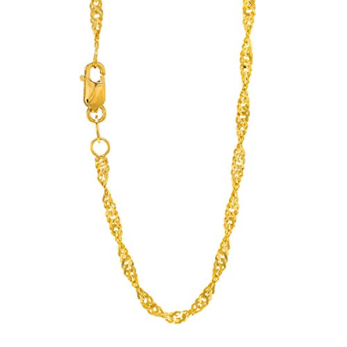 JewelStop 14k Solid Yellow Gold 1.5 mm Singapore Chain Necklace, Lobster Claw-18 Inches, 1.6gr.