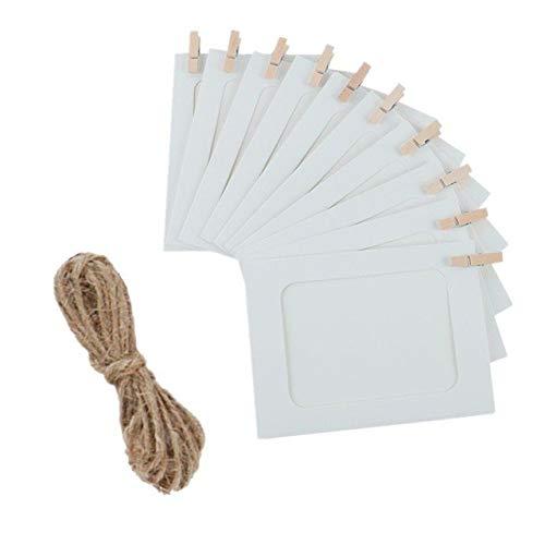 DIAZ 10st activiteiten bruiloft tafels diy fotolijst houten clip papier foto houder wanddecoratie zwart wit creatief, wit