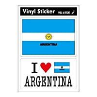 FIL-10 国旗ステッカー ARGENTINA アルゼンチン 2枚セット スーツケースステッカー アイラブステッカー