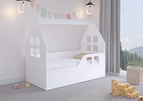 iGLOBAL Cama infantil, cama infantil, cama juvenil, colchón y somier flexible, 144 x 74 x 120 cm, color blanco