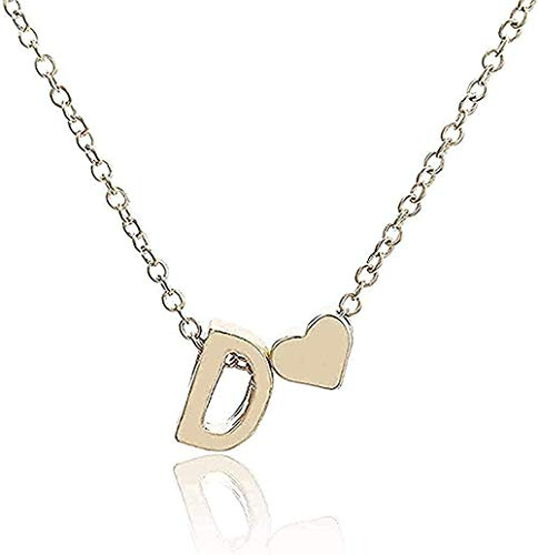 NC188 Necklace Necklace Small Simple Necklace Golden Letter AZ Gold Love Heart Necklace Pendant Birthday Gift Jewelry for Girls