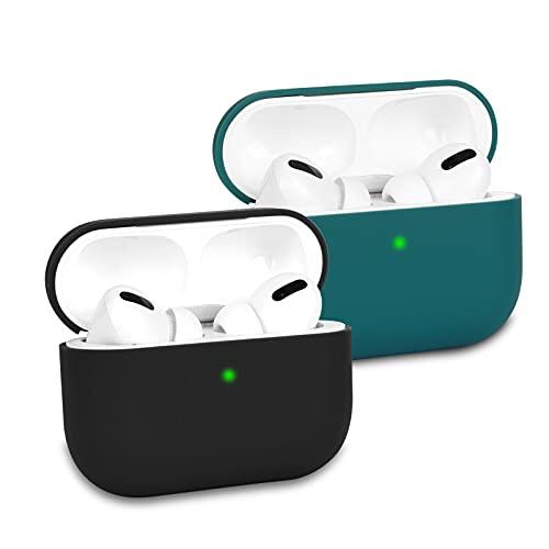 KOKOKA Funda de Silicona Compatible con AirPods Pro (2019), Anti-rasguños, Anti-Polvo, Ultradelgada, LED Frontal Visible, Funda Premium Silicona para Airpods Pro, 2 Piezas, Negro/Dark Green