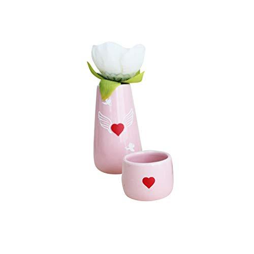 ペット仏具セット 2点 日本製 かわいい 刻印入り オリジナル 陶器 パステルカラー 国産 ミニ仏具 (ピンク, エンジェルハート)