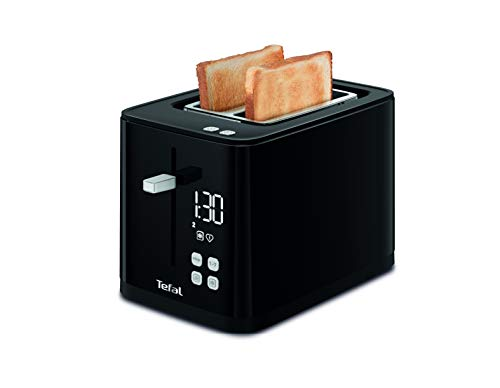 Tefal Smart N' Light Toaster, Schwarz, 2 Extrabreite Schlitze, Thermostat verstellbar, 7 Positionen, digitale Anzeige, Favorit, Abschaltung, Aufwärmung, TT640810