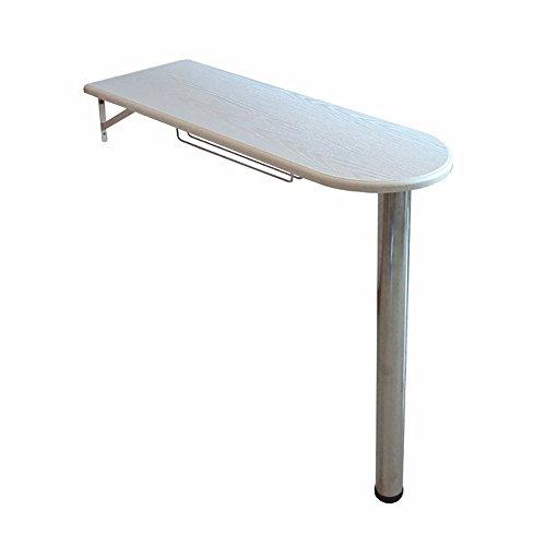 Table pliante Rectangulaire en bois - Table pliante - Table de cuisine et salle à manger Table haute Home Bar - Support mural en bois massif - Table à manger avec support en aluminium