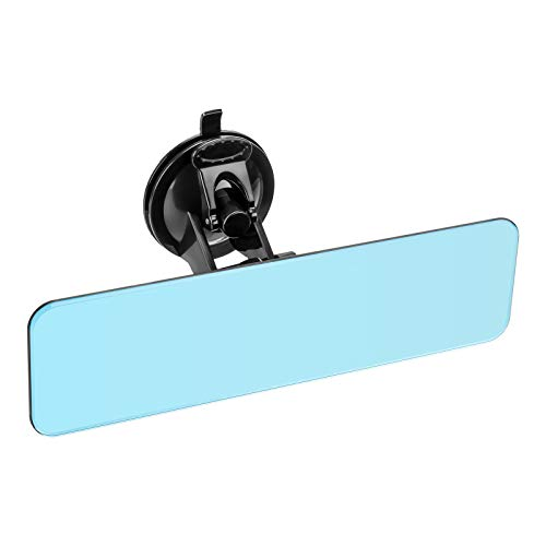 9.5'' Frameless Anti Glare Rear View Mirror with Suction Cup, Stick on Universal Inside Rearview Blue Mirror with Flat Wide Angle Mounted on Windshield for Car Marine Auto Boat Truck SUV Van