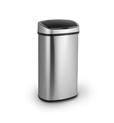 LIFA LIVING 58L Automatischer Sensor Mülleimer, Küchenabfälle, Abfalleimer mit Hand Bewegungssensor, Mülleimer Metall, Edelstahl, Silber (50l - 60l)