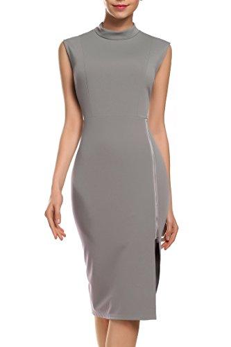 Zeagoo Damen unregelmäßige Perspektive ärmel hoher Kragen figurbetontes Kleid