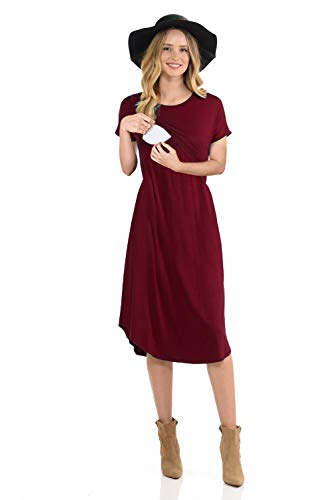 CzzzyL Nursing Outfits for Breastfeeding,Womens Casual Cotton Breastfeeding Friendly Dress for Baby Shower Comfy Easy Fit Pleats Oversize(Red,X-Large)