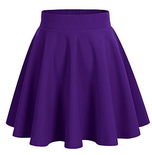 DRESSTELLS Damen Basic Solide Vielseitige Dehnbar Informell Mini Glocken Rock Dark Purple L