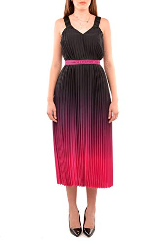 Armani Exchange AX Damen Gradiant Pleated Stretch V-Neck Strap Dress Kleid, schwarz/pink, 36