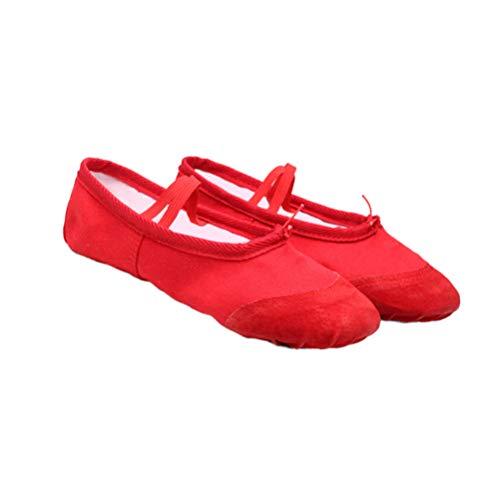 SUPVOX Zapatillas de Ballet Zapatos de Baile Zapatillas de Lona y Cuero para niños niñas pequeñas Zapatos de Baile de Yoga Talla roja 23