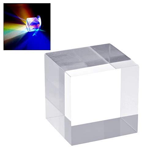 DUOCACL Optisches Glas 25mm Würfel Prism Refraktor Kristallklares Prisma für wissenschaftliche Experimente, Physik Optische Lehre, Lichtspektrum Sonnenlicht reflektieren