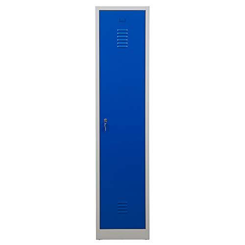 Certeo Garderobenspind | HxBxT 1800 x 415 x 500 mm | Zylinderschloss | Grau-Blau | Garderobenspind Umkleidespind Spind Schrank Abschließbar