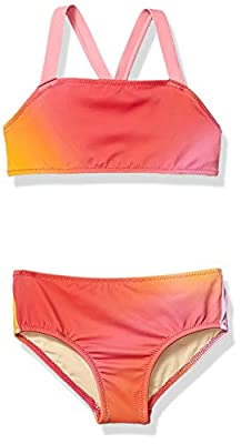 Amazon Essentials Girl's 2-Piece Bikini Set, Ombre Pink, Small