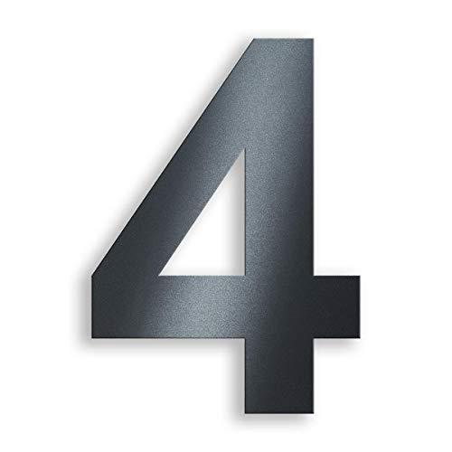 Metzler Hausnummer aus massivem Stahl in Anthrazit - RAL 7016 Anthrazitgrau Feinstruktur Pulverbeschichtet - Schrift Arial - Höhe 20 cm - Ziffer 4