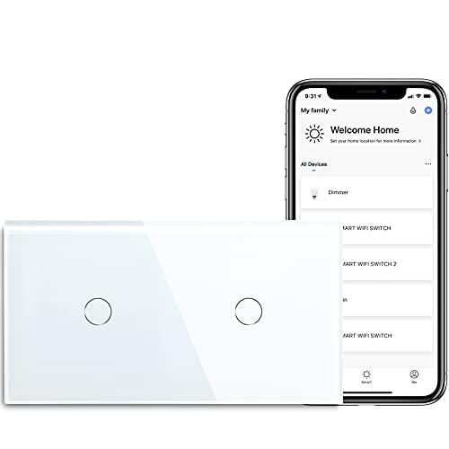BSEED Smart Alexa Lichtschalter Double WiFi Touch Wandlichtschalter 1 Fach 1-Weg (Neutralstrom Erforderlich) Alexa/Tuya/Google Home-kompatible Glasscheibe 157 * 86 Weiß
