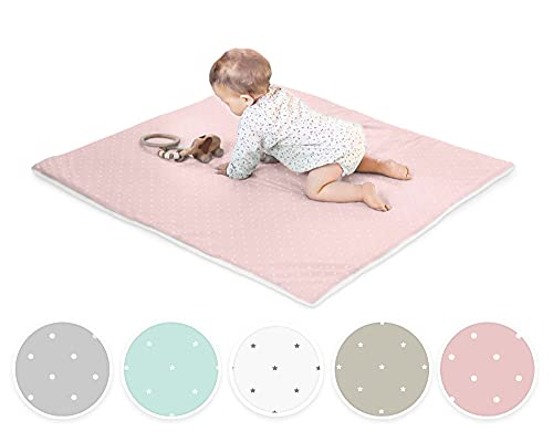 Ehrenkind® Krabbeldecke Baby mit Bio-Baumwolle   100x100cm   OEKO-TEX Kuscheldecke Unisex   Rosa weiße Punkte