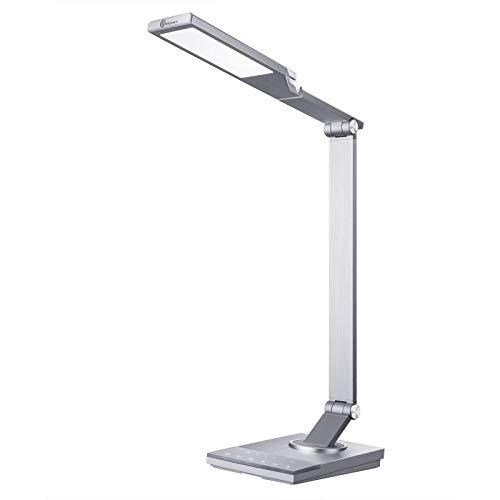 TaoTronics Lámpara Escritorio LED 12W con USB 5V/2A iSmart( 5 Temperaturas de Color,6 niveles de Brillo,Función de Memoria/Temporizador,luz nocturna) Metal