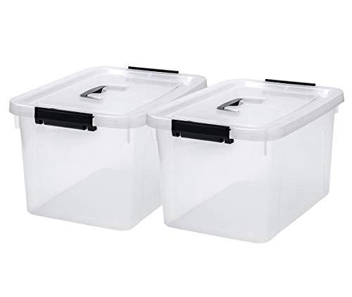 JUJIAJIA Clear Storage Latch Box, 16 Quart Plastic Box/Bin with Lid and Handles, 2-Pack