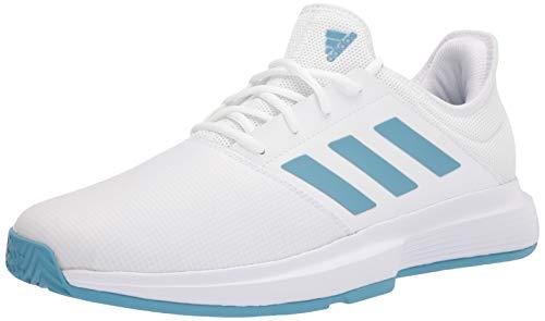 adidas Men's Gamecourt Tennis Shoe, White/Hazy Blue/Halo Blue, 9