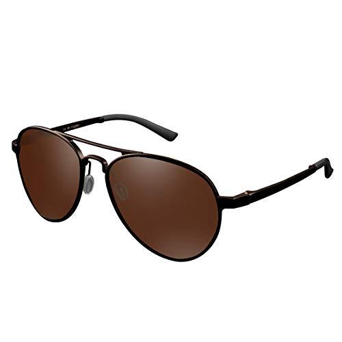 CHEREEKI Polarisierte Sonnenbrille, Fliegerbrille Sonnenbrille Klassische Unisex Pilotenbrille UV400 Schutz Gläser für Herren und Damen (Braun)