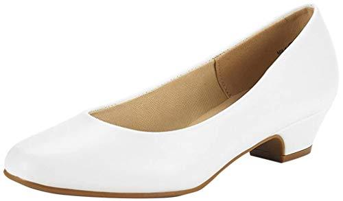 DREAM PAIRS Women's Mila White Pu Low Chunky Heel Pump Shoes Size 8.5 M US