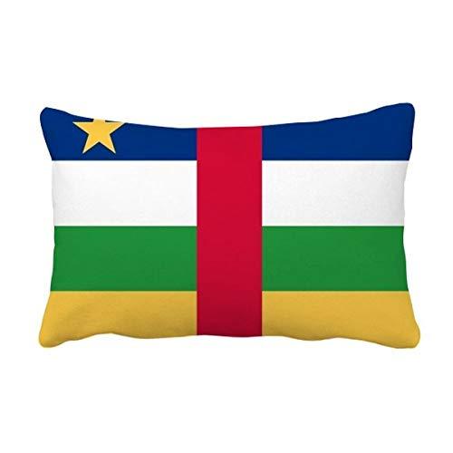DIYthinker Werfen Zentralafrikanische Republik National Flagge Afrika Land Lumbar Kissen Kissenbezug Startseite Dekor-Geschenk 16 Zoll x 24 Zolls Mehrfarbig