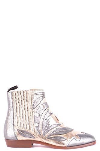 Santoni Damen Mcbi35609 Silber Leder Stiefeletten