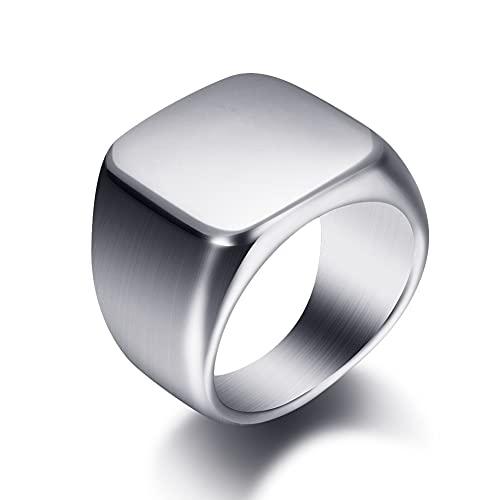 SYF@QYY JewelryWe Alianza de Boda de Compromiso de Acero Inoxidable Altamente Pulido Anillo de Sello para Hombre,Plata,12