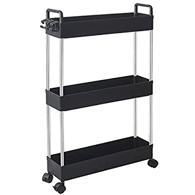 SOLEJAZZ Storage Cart 3-Tier Slim Mobile Shelving Unit Rolling Bathroom Carts with Handle for Kitchen Bathroom Laundry Room Narrow Places, Black