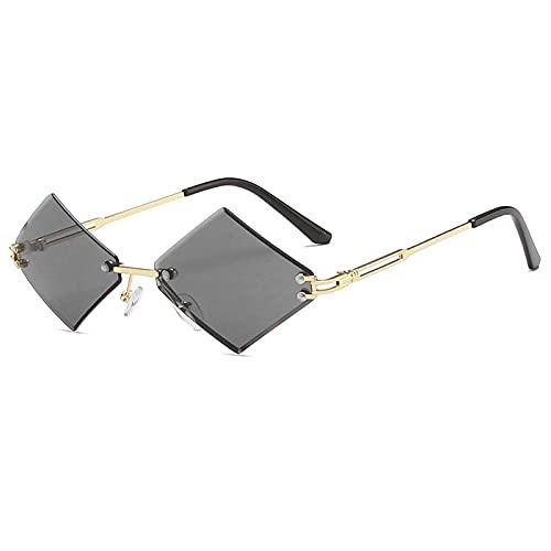 WANGZX Gafas De Sol Sin Marco De Moda Gafas De Sol Sin Marco Steampunk De Mujer Gafas Graduadas para Mujer Uv400 C1Gold-Black