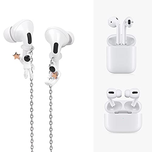 Dainslef Anti-Lost Strap - Compatible with Airpods 1, 2, Pro - Anti-Drop & Loss Wireless Earbuds Holder with Chain, Cute Astronaut - Neck Lanyard for Airpods - 25.6