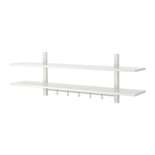 IKEA VÄRDE Wandregal mit 5 Haken; in weiß; aus massiver Buche; (140x50cm)