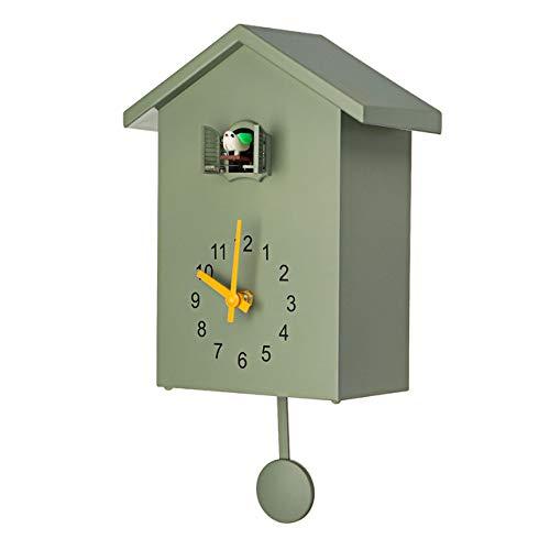 CBVG Kuckucksuhr 3 Farben Kuckuck Quarz Wanduhr Modern Bird Home Wohnzimmer Hängende Uhr Uhren Timer Office Home Decoration, Grün