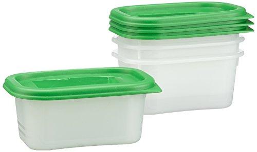 Rotho Domino 4er Set Vorratsdosen, Kunststoff (BPA - frei), grün / transparent, 4 x 0.2 Liter (11,7 x 7,5 x 5,5 cm)