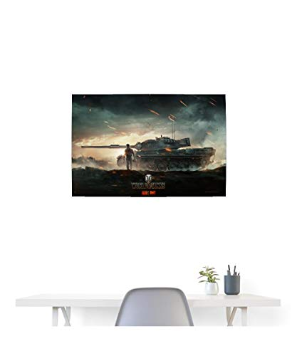 Spreadshirt World of Tanks Panzerschlacht Angriff Poster 90x60 cm, Weiß