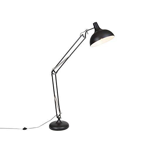 QAZQA - Retro Industriestehlampe schwarz verstellbar - Hobby   Wohnzimmer   Schlafzimmer - Stahl Rund - LED geeignet E27