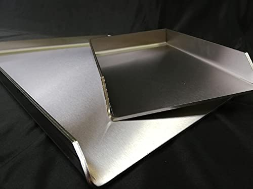 KOCH Metall Edelstahl V2A Plancha Grillpfanne Steak- Burger- Grillplatte I 400 x 300 mm Massiv 4 mm 4,8 KG I 40x30 cm I für Gasgrill, Kohlegrill oder Backofen