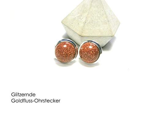 Silberne Ohrstecker Ohrringe Goldfluss Glitzer