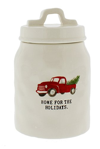 Rae Dunn Magenta HOME FOR THE HOLIDAYS Red Truck Christmas Canister