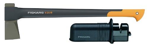 Fiskars Spaltaxt X25 + Axt- und Messerschärfer
