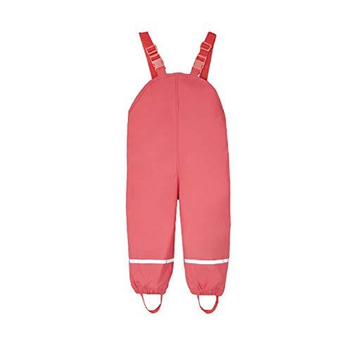 Kinder Mädchen Regnhose Regenlatzhose wasserdichte Atmungsaktiv Verstellbaren Trägern Buddelhose Matschhose mit Fleecefutter (Rose, 74/80)