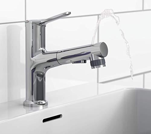 EISL NI075VARCR VariABILE - Grifo para lavabo con ducha extraíble, grifo con apertura en la parte superior, grifo para lavabo con chorro de ducha, cromado