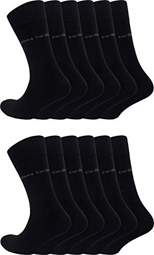 Pierre Cardin 6-9-12 oder 18 Paar Sonderangebot Herren Business-Socken Baumwoll-Socken Anzug-Socken Schwarz (12, 43-46)